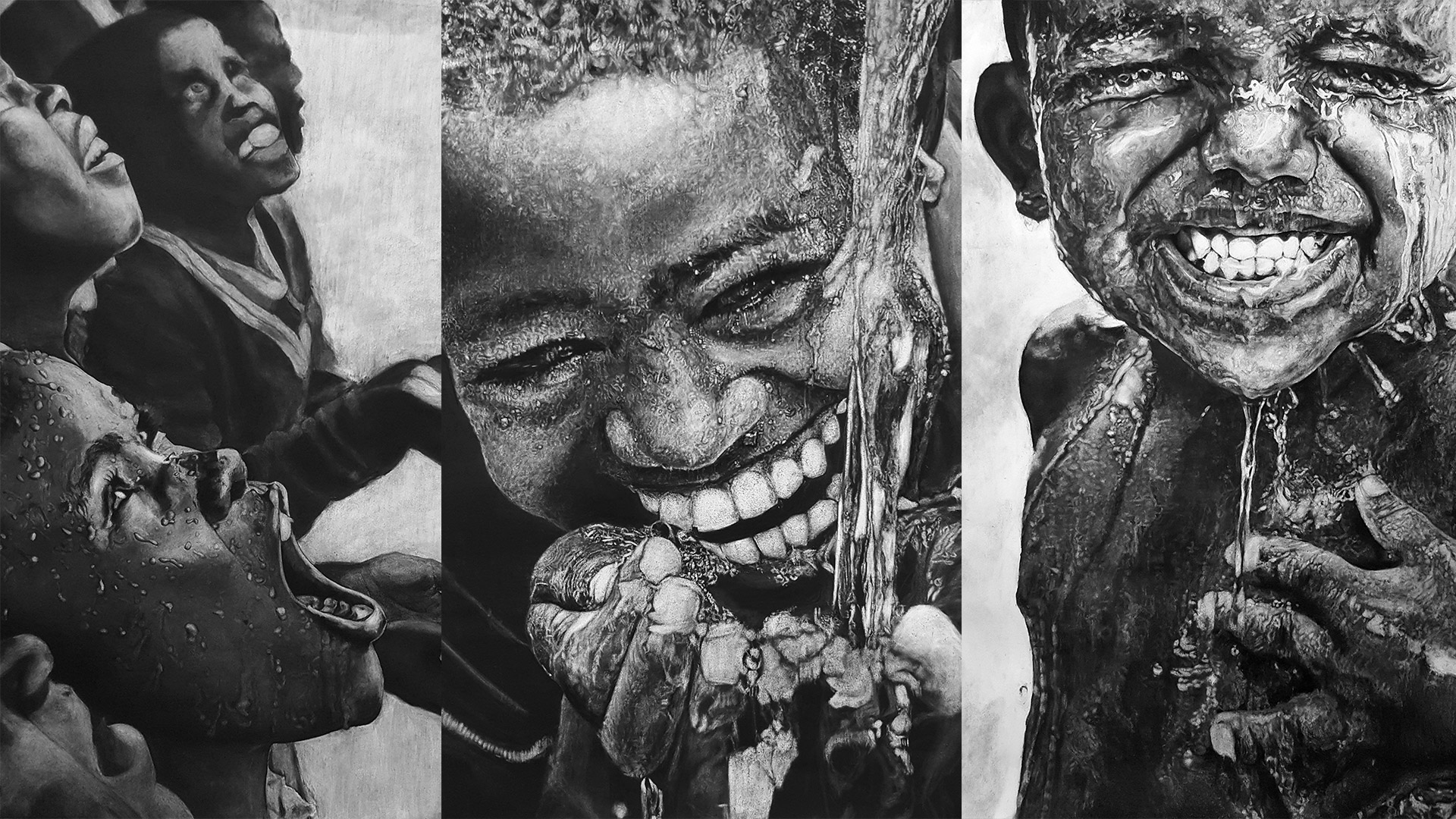 Hyper realism charcoal drawing